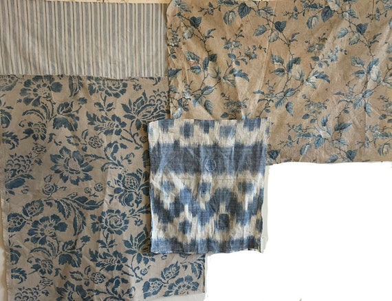 Beautiful French Printed Cotton Floral Fabrics (early 20th Century And 1945 with ticking and ikat) 4076