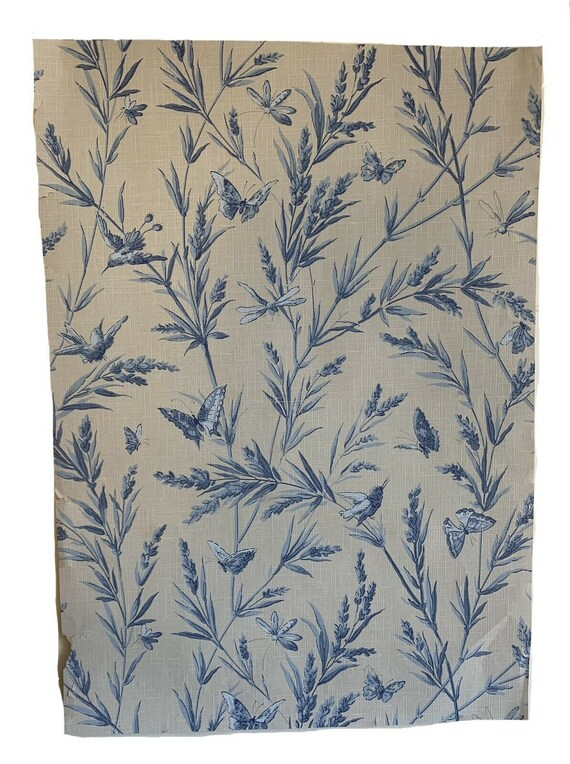 Beautiful 19th Cent. French floral leaf butterfly wallpaper 5414