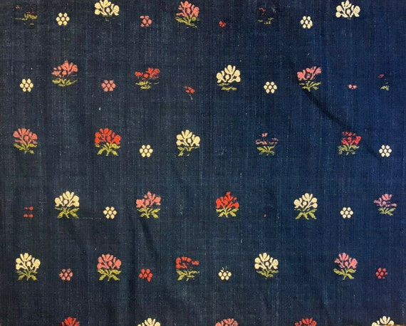 Beautiful rare 18th Cent. French indigo embroidered linen fabric 5129