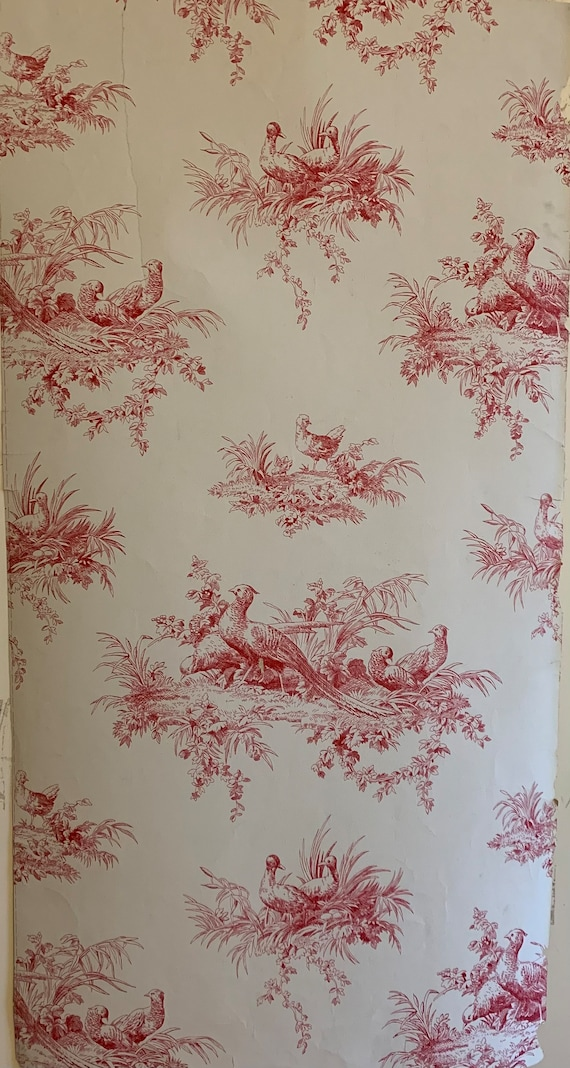 Beautiful Early 20th Century French Conversational Toile Wallpaper (3432)
