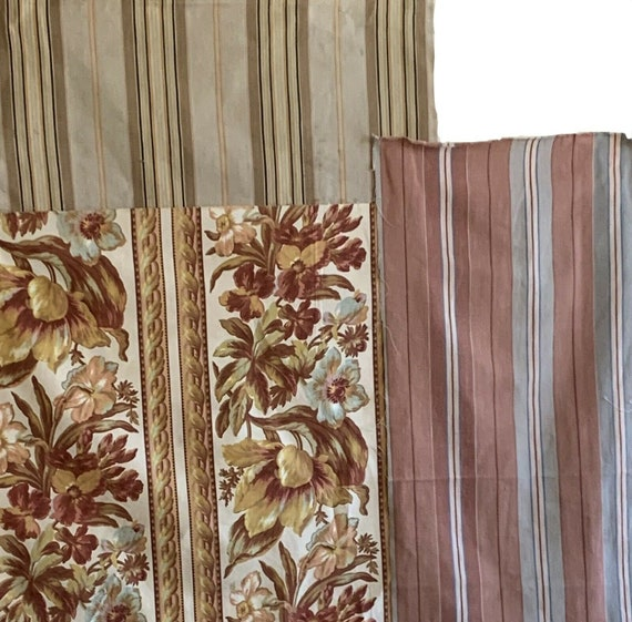 Beautiful collection of 3 20th C. French ticking and striped floral fabric 5070