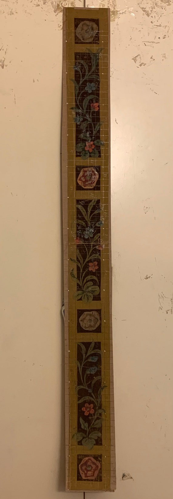 Beautiful 19th Century French Hand Painted Border For Tapestry Development (3351)