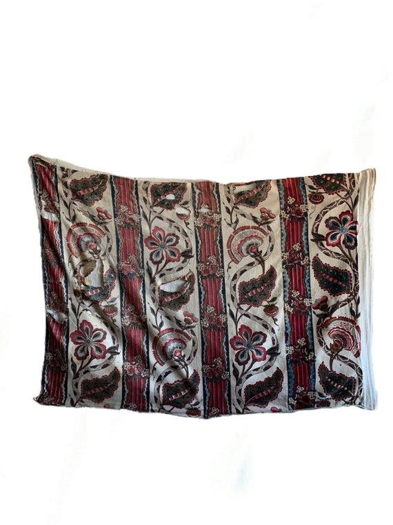 Beautiful Rare 18th Century French Linen Block Printed Exotic Fabric (2821)