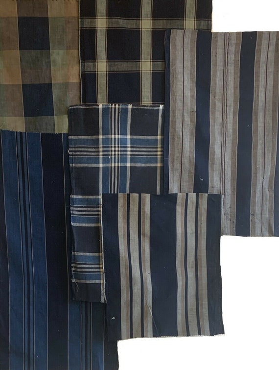 Beautiful 19th 20th Cent. 6 Japanese stripes and plaids 5226