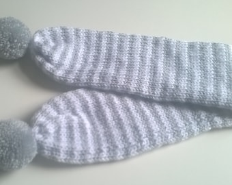 Toddler Pompom Scarf - Hand Knitted to order in colours of your choice