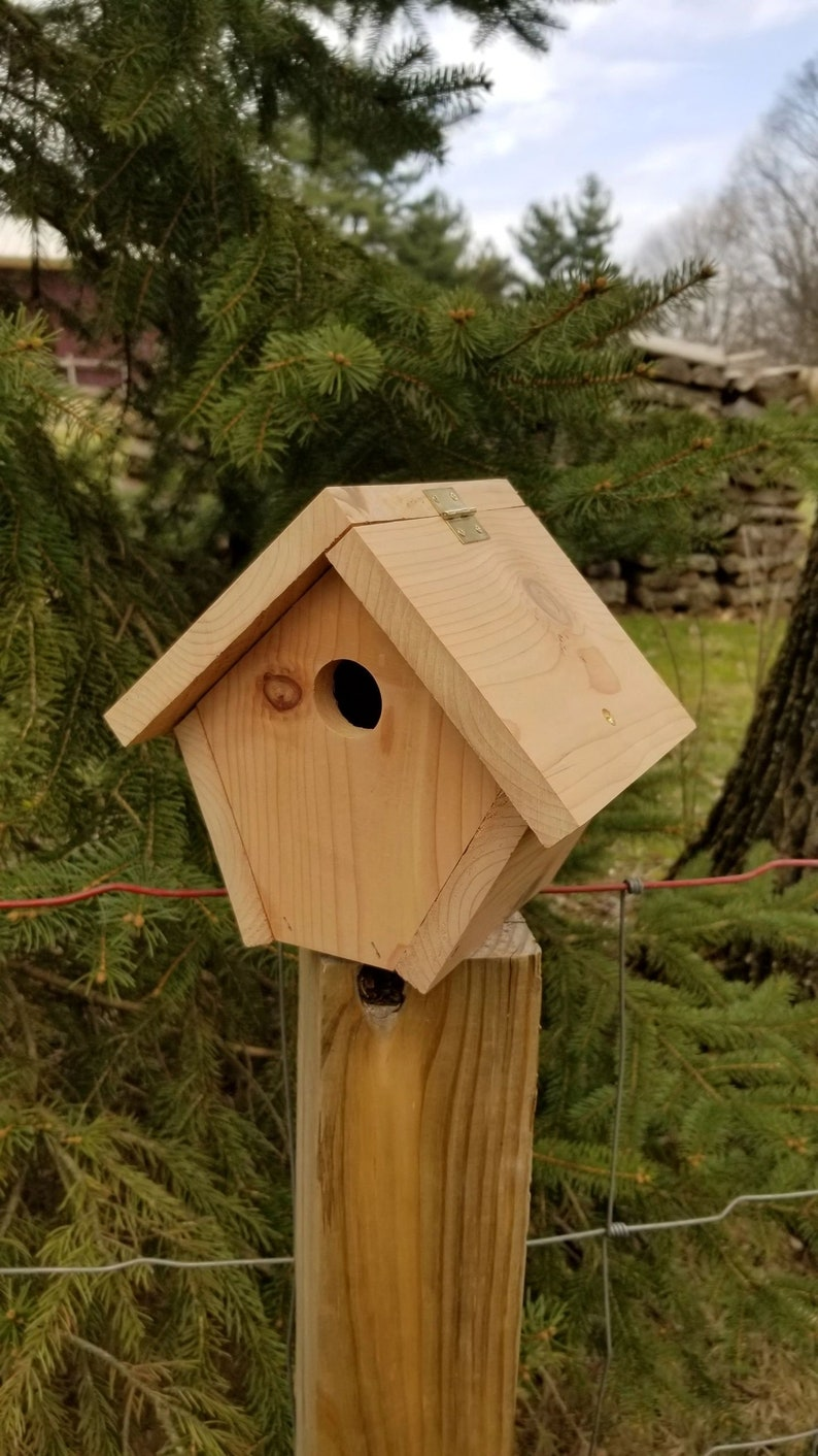 Handcrafted cedar birdhouse for your outdoor and patio spaces image 0