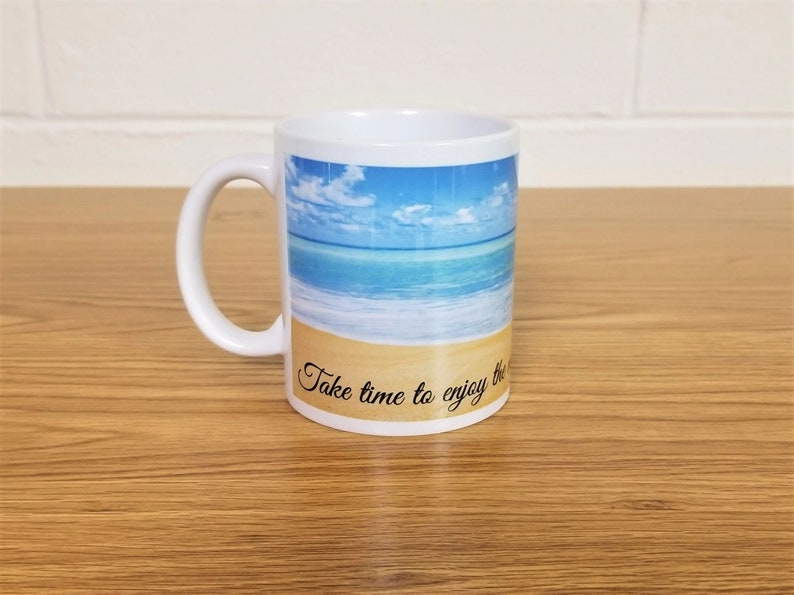 Beach Scene Enjoy the Moment Custom Printed Coffee image 0