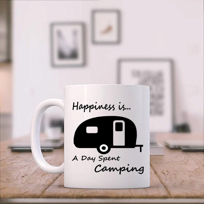 Happiness Is Ceramic Camping Coffee Mug Custom Printed image 0