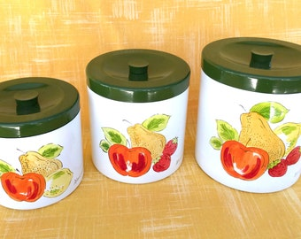 Vintage Hand Painted Lacquered Wood Canister Set of 3 with Apples, Pears and Strawberries