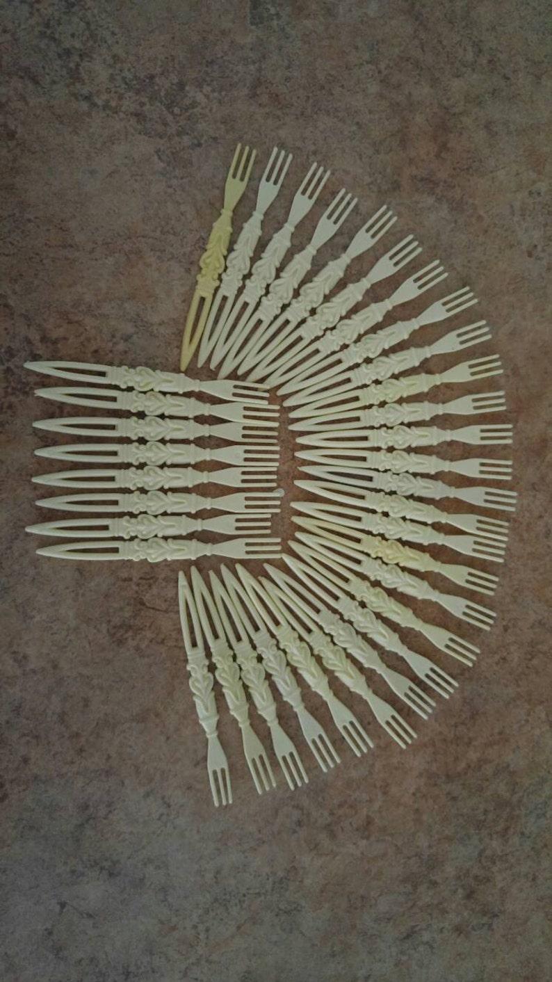 Retro Ivory Mini Forks In Carved Celluloid Lattice Holder *Set Of 35