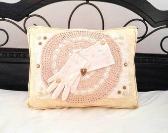 Vintage Upcycle Pillow 1960s Beaded Glove Crochet Doily Pillow Antique Style Button Handcrafted Toss Pillow Cottage Chic Decor Home Living