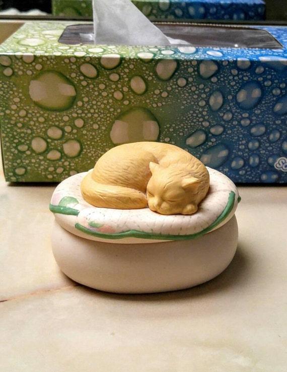 Vintage Cat Trinket Box Hallmark Sleeping Kitten On Pillow