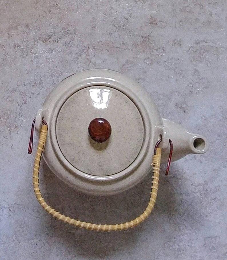 Owl On Branch Rustic Stoneware Pottery Tea Maker Retro Owl Teapot Vintage 1960s Drinkware Rattan Wrap Handle
