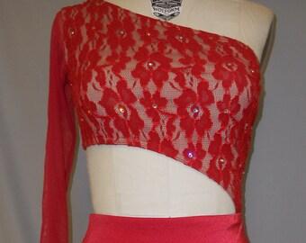 RED LACE dress with SWAROVSKI rhinestones dance/ice skating costume