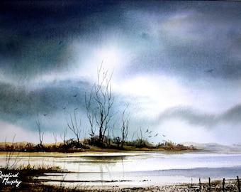Marshland (print of original watercolour painting)