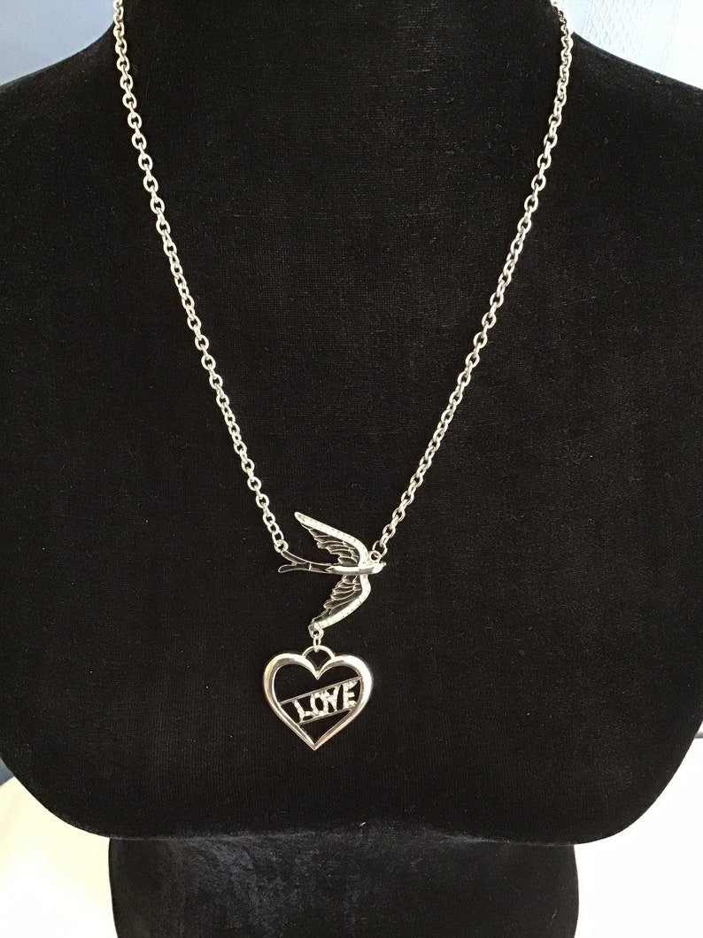 Beautiful Peace and Love Womens Necklace 9.5 inch drop