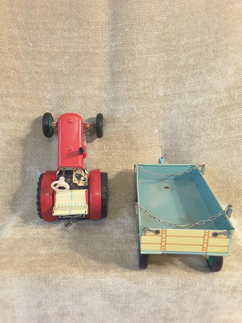 1960-70s Czech KDN Kovo Druzstvo Nachod ZETOR tractor with trailer wind up litho tin toy Rubber tires Clockwork gear box 1st Version