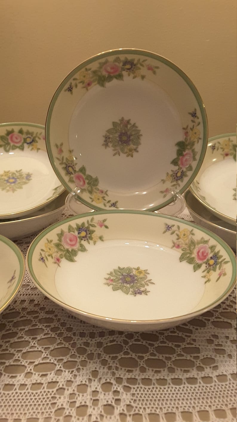 Roses and Gold Accent Vintage Set of 8 Made In Japan China Serving Bowls Salad Bowls Dessert Bowls With Yellow and Green Trim