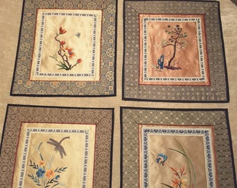 4 Vintage Asian Oriental Embroidered Silk Textile Squares Wall Art / Floral / Butterfly / Dragonfly / Trees Beijing China Dun Huang