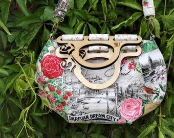 Color grey rose oversized handmade fabric Tote bag vintage hobo style with wooden handeles by Jackalope bag