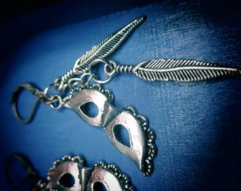 Labyrinth Masquerade Mask Feather Dangle Earrings