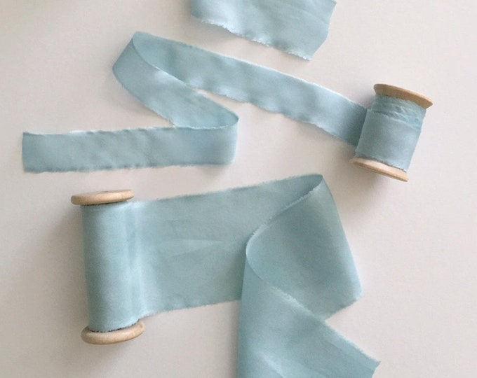 "Ice Blue Plant Dyed Silk Ribbon - 1"", 1.5, or 2.5"" Spool"
