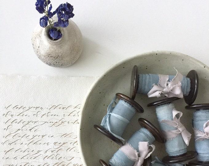 MARBLED INDIGO BLUE Plant Dyed Silk Ribbon