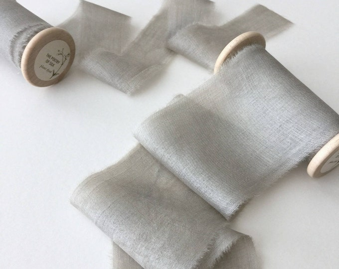 "Dove Gray Plant Dyed Silk Ribbon - 1.25"" Spool"