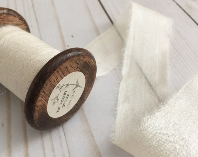 "1.25"" x 5 yds BONE WHITE Plant Dyed Silk Ribbon"