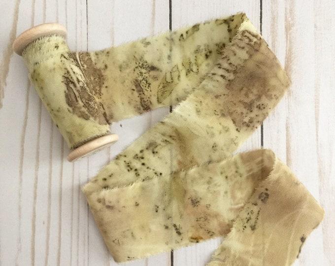 "2"" x 3.5 yds BOTANICAL PRINT Plant Dyed Silk Ribbon"