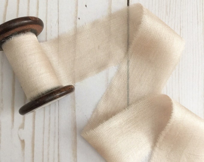"1.5"" x 2.5 yds CREAM Plant Dyed Silk Ribbon"