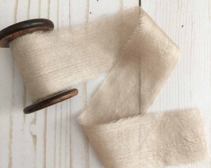 "1.5"" x 2.5 yds TAUPE Plant Dyed Silk Ribbon"