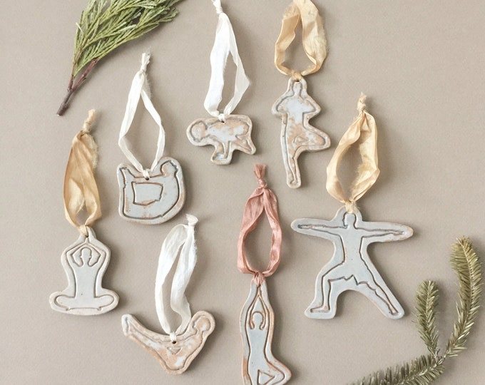 Set of 7 Yoga Pose Ceramic Christmas Tree Ornaments