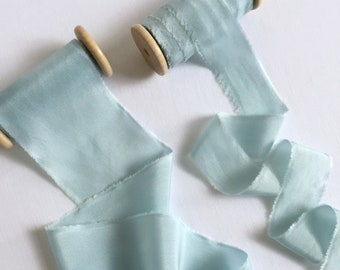 Ice Blue Plant Dyed Silk Ribbon