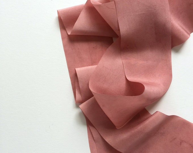 "Antique Rose Plant Dyed Silk Ribbon - 0.79"" and 1.5"" - 2 yards per width"