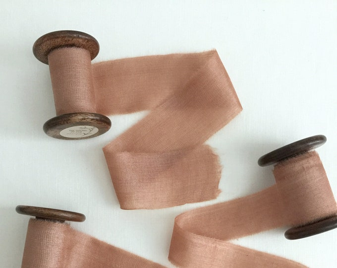 """1.5"""" x 2.5 yds ROSE CLAY Plant Dyed Silk Ribbon"""