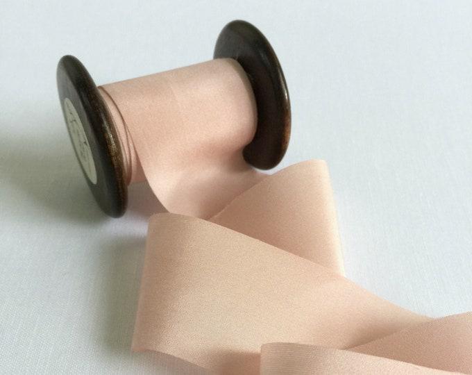 "1.5"" x 3 yds DUSTY PINK Plant Dyed Silk Ribbon"