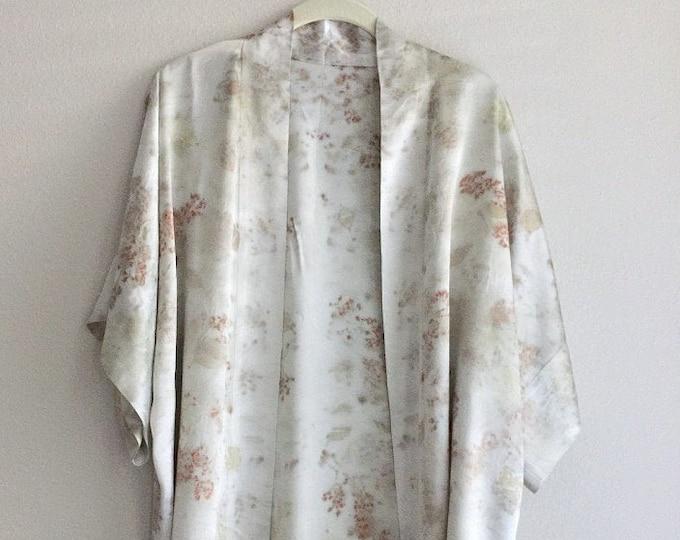 Botanical Print Silk Kimono Robe