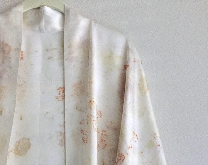 Botanical Print Silk Kimono Robe, Plant Dyed