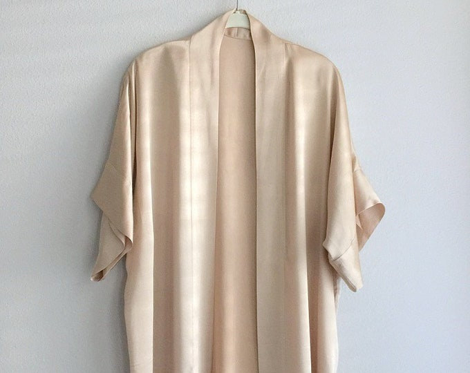 Gold Silk Kimono Robe, Natural Dyed with Medicinal Plants