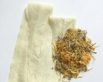 DIY Natural Dyeing Silk Ribbon Kit, Pale Gold