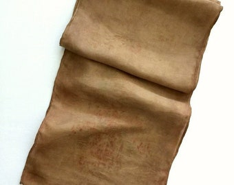 Botanical Print Plant Dyed Silk Scarf