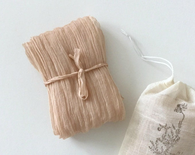 Dusty Peach Plant Dyed Silk Ribbon