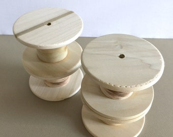 Large Wooden Spools, Set of 4