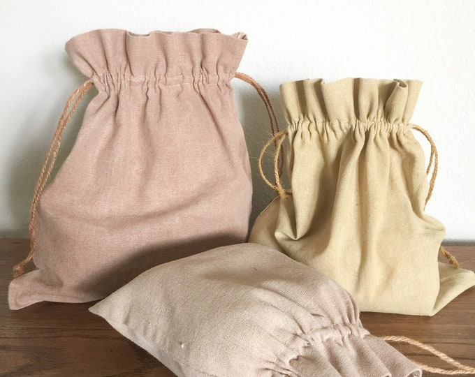 Zero Waste Plant Dyed Linen Bags, Set of 6