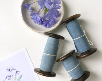 Marbled Indigo Blue Plant Dyed Silk Ribbon