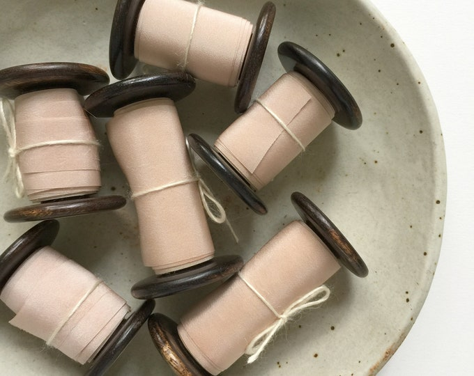 "Light Rose Taupe Plant Dyed Silk Ribbon - 0.79"", 1.5"", or 2.5 Spool"