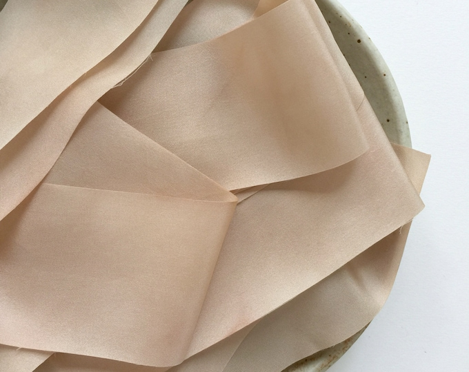 "Light Rose Taupe Plant Dyed Silk Ribbon - 0.79"" and 1.5"" - 2 yards per width"