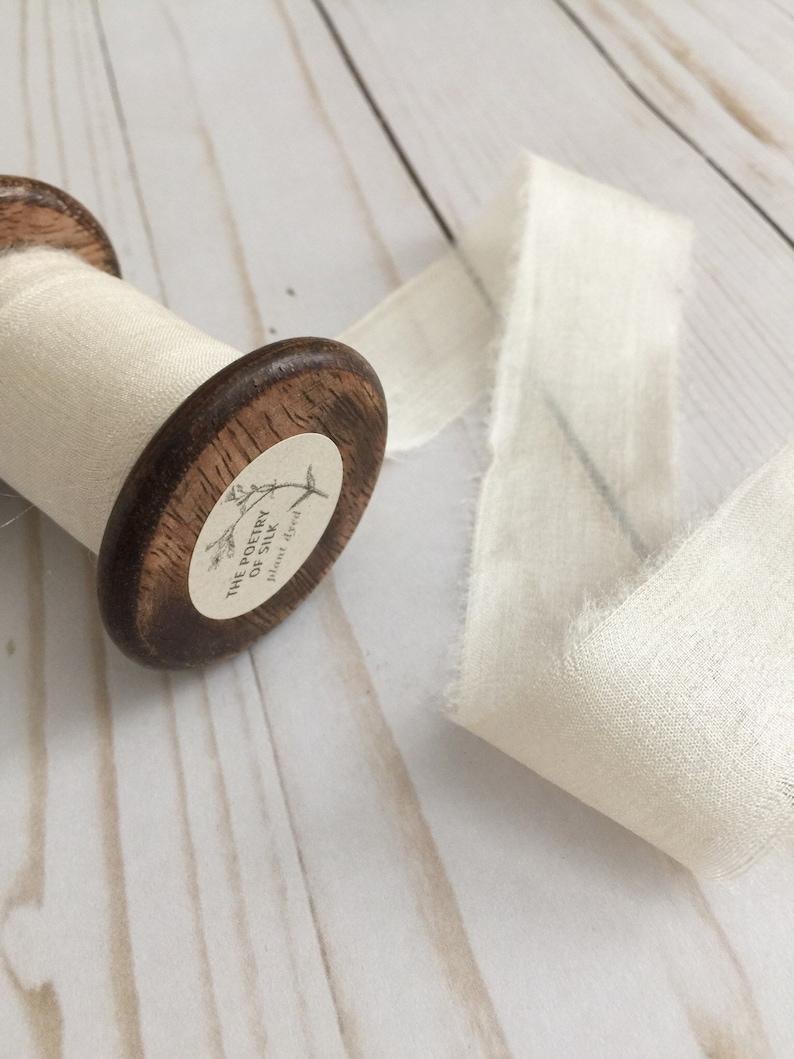 Ethical Peace Silk 1 x 5 yards BONE WHITE Plant Dyed Silk Ribbon Hand Dyed