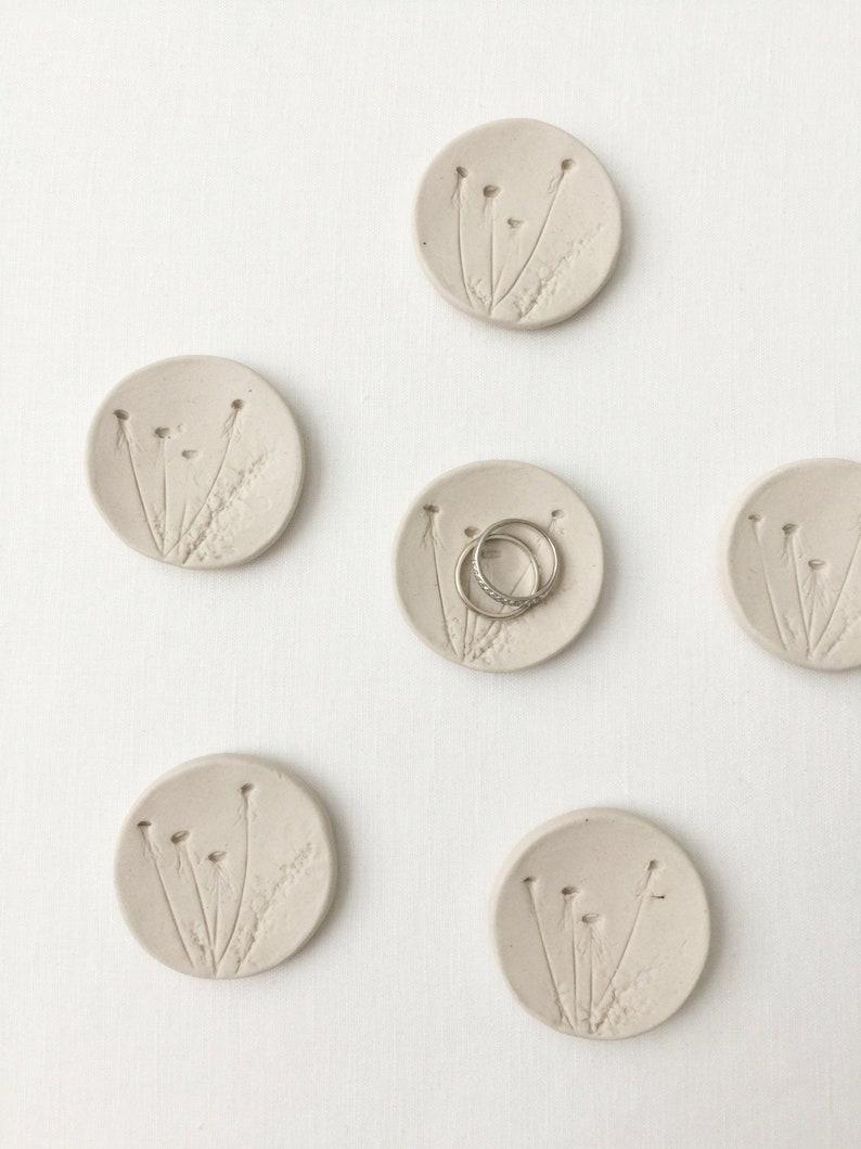Handmade Mini Ceramic Ring Dish Botanical Porcelain Clay image 0